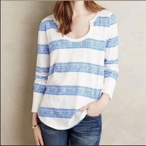 ANTHROPOLOGIE🔹Little Yellow Button Striped Top